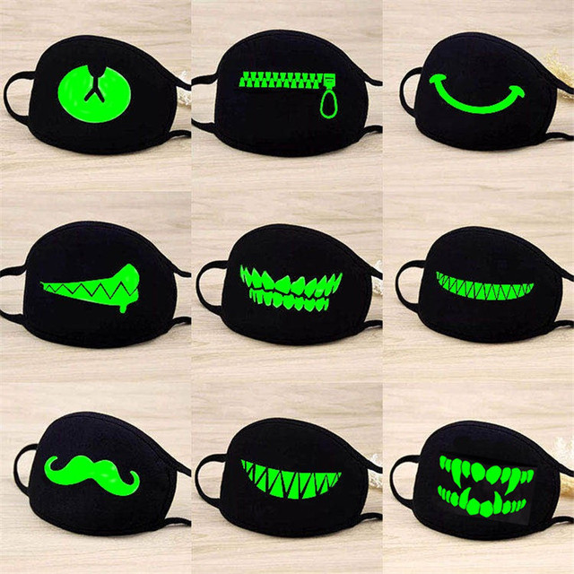 Luminous Funny Smile Expression Cotton Anti Dust Mouth Face Mask For Mouth Black Kpop Unisex Face Mouth Muffle Mask Fashion New