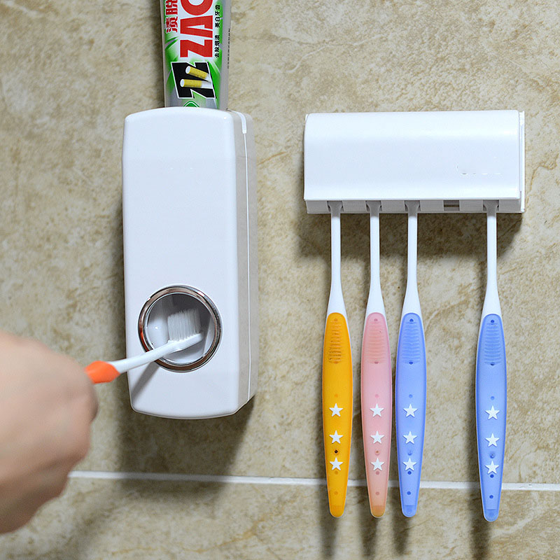 Home Automatic Toothpaste Dispenser Toothbrush Holder Bathroom Products Wall Mount Rack Bath Set Toothpaste Squeezers Dfdf