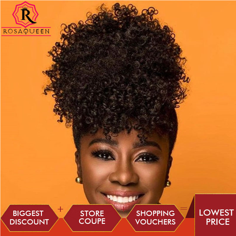 3B 3C Clip In Ponytail Human Hair Extension Kinky Curly Ponytails Remy Human Hair Natural Blck For Women Rosa Queen