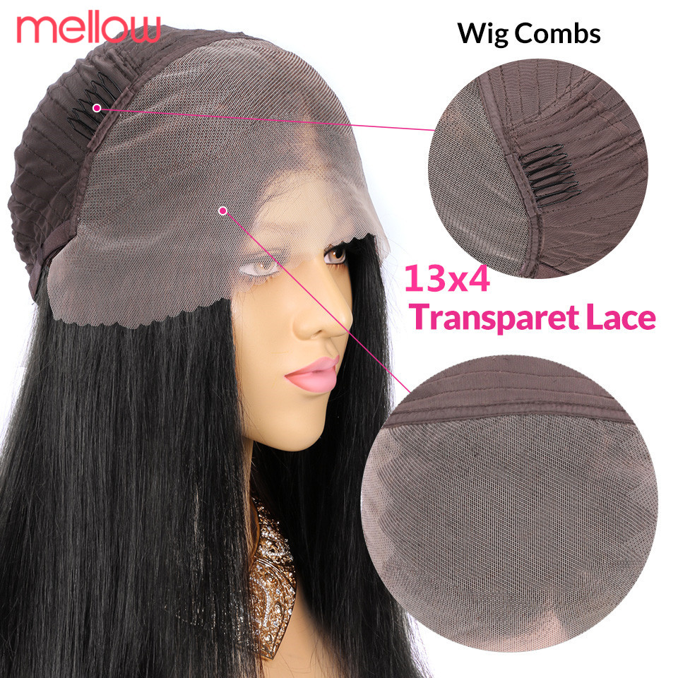 Straight Wave HD Lace Wig 13x4 Lace Front Human Hair Wigs Invisible Remy Pre Plucked Bleached Knots Transparent HD Lace Wig