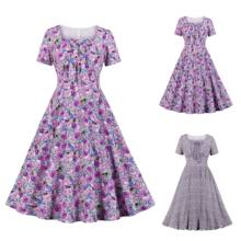 Women's Square Neck Bow Floral Pleated Summer Vintage Dress