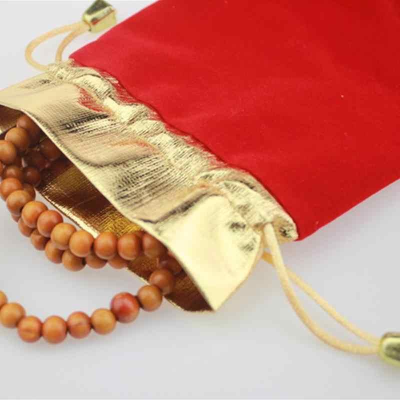 Hot Red Lucky Highgrade aksamitna torba w kolorze złotym zamknięcie i sznurek ozdoba do torby pakiet prezent woreczki na biżuterię dla kobiet mężczyzn organizator