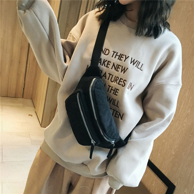 2019 Newest Style Men Women Corduroy Waist Bags Solid Fanny Pack Travel Belt Pouch Shoulder Bags Tote Waist Bag Riñoneras Nerka