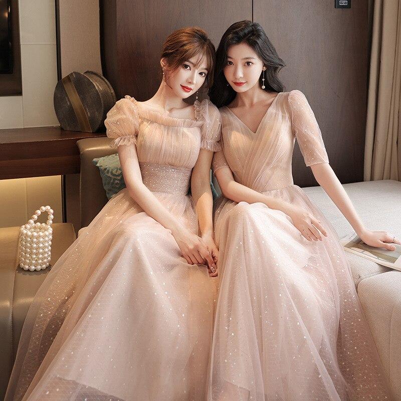 Light Pink Long Bridesmaid Dresses Elegant Tulle 2021 New Wedding Guest Dress Party Gown Vestido JQ817