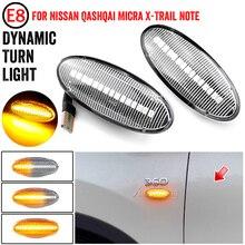 Dynamiczny znacznik boczny błotnika LED włącz światła sygnalizacyjne bursztynowy dla nissana Qashqai Dualis Juke Micra March Micra uwaga x trail