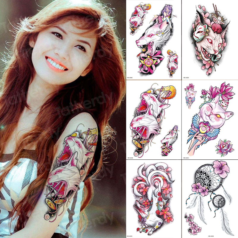Waterproof Temporary Arm Sleeve Tattoo Cat Flower Women Fashion Tattoos 6pcs/sets Wholesale Big Size Water Tattoo Fake Girls