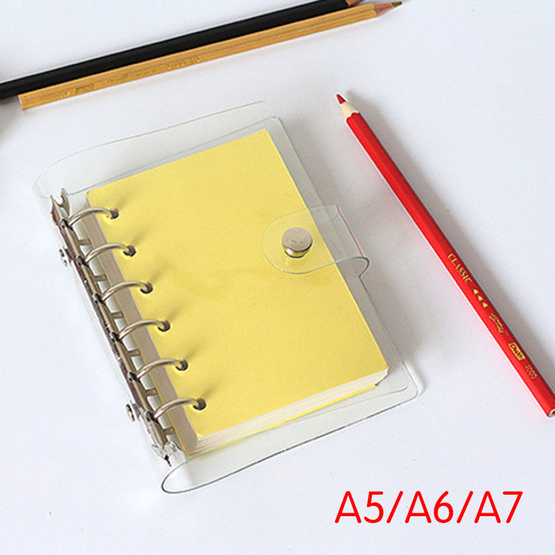 Notepad Cover Ring Binder Cover Loose Leaf Cover Transparent PVC Writing Book Case Office Supplies Partical Diary Stationery