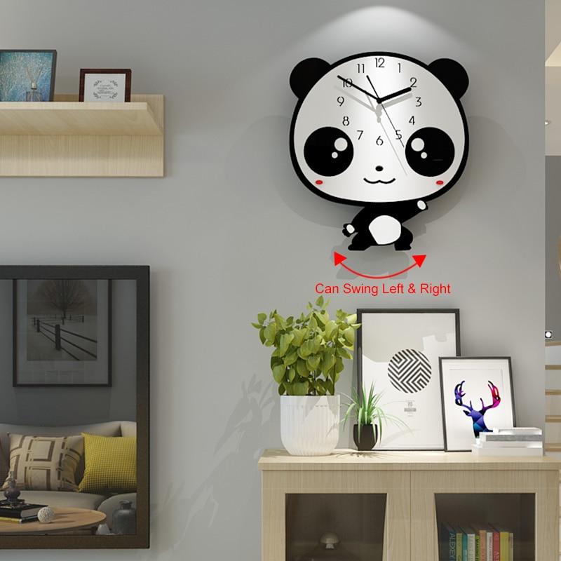 Dessin animé Horloge murale Design moderne oscillant décoration de la maison Quartz horloges silencieuses pour enfants chambres noir Horloge livraison gratuite BB50W