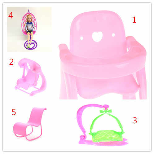 5 Styles 1 Pcs Cute Pink dollhouse Dining Chair Doll Dining Chair Toy For Kids Gift For 1/12 Dollhouse Miniature Furniture Toys