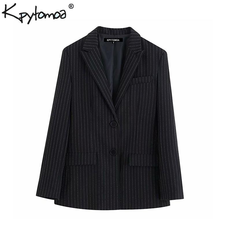 Vintage Stylish Office Lady Striped Single Breasted Blazer Coat Women 2019 Fashion Long Sleeve Pockets Outerwear Chaqueta Mujer