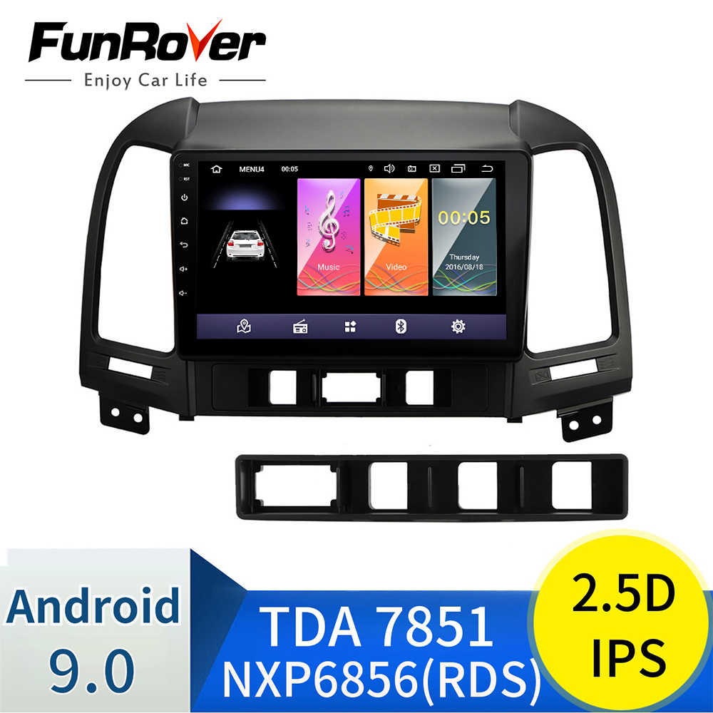 Funrover 2 din 2.5D + IPS Android 9.0 Auto Radio Multimedia video player gps navigatie Voor Hyundai Santa Fe 2005 -2012 gps stereo