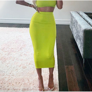 Image 4 - Colysmo 2 Layers High Waist Stretch Pencil Midi Skirt 2019 Women Elegant White Long Skirts Candy Colors Cotton Casual Skirt Gray