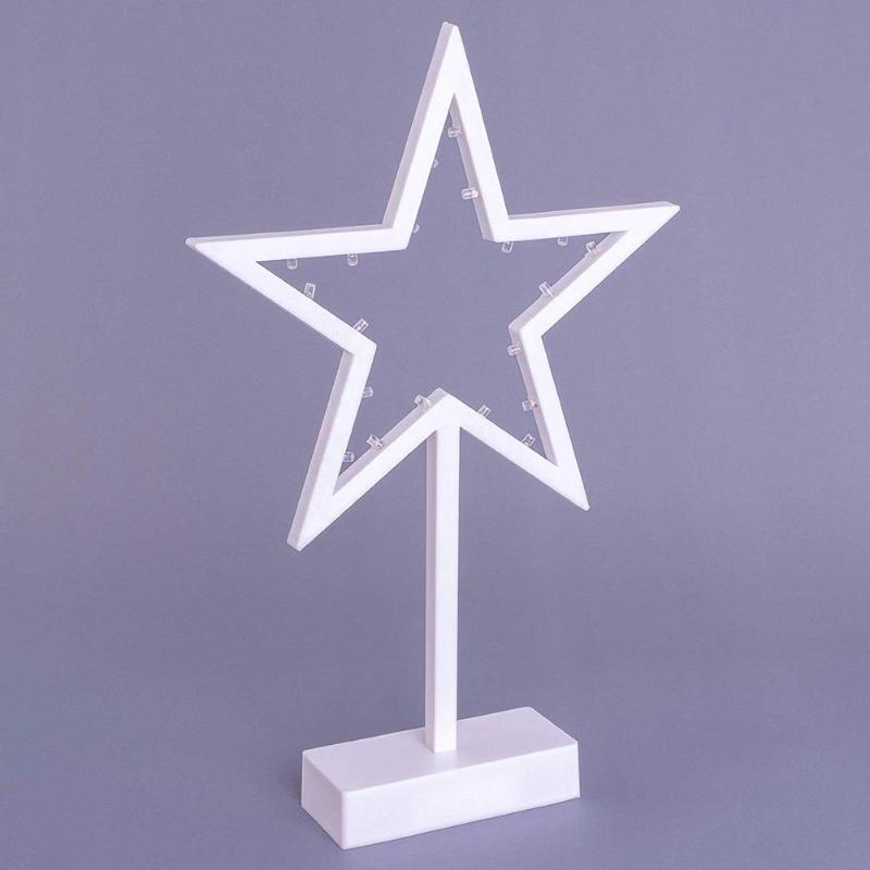 20LED Battery Powered Star Shaped Night Light Creative White Frame Warm White Lighting Birthday Present Decorative Lamps