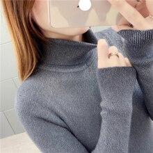 high neck shiny lurex autumn winter sweater women long sleeve pullover basic korean glitter knit top female