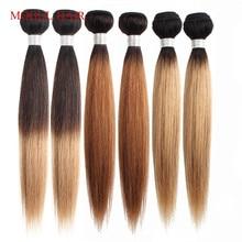 MOGUL שיער T 1B 27 Ombre דבש בלונד חבילות לארוג 3/4 חבילות הודי ישר שיער ללא רמי שיער טבעי הארכת 10  24 אינץ