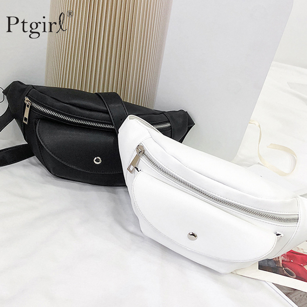 Simple Pure Color Women Messenger Bag PU Leather Girls Casual Shoulder Bags Ptgirl Female Small Chest Bags Waist Bag Fanny Sac
