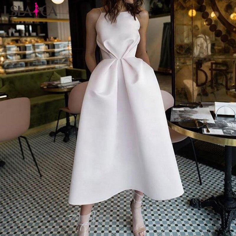 Lslaica Dress Women Sexy Sling White Backless Elegant Fashion Big Swing Hot Sale Dress Autumn 2019
