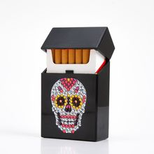 Cigarette Box Lighter Holder Special Beads Pasted Tobacco Black Box Diamond Pain