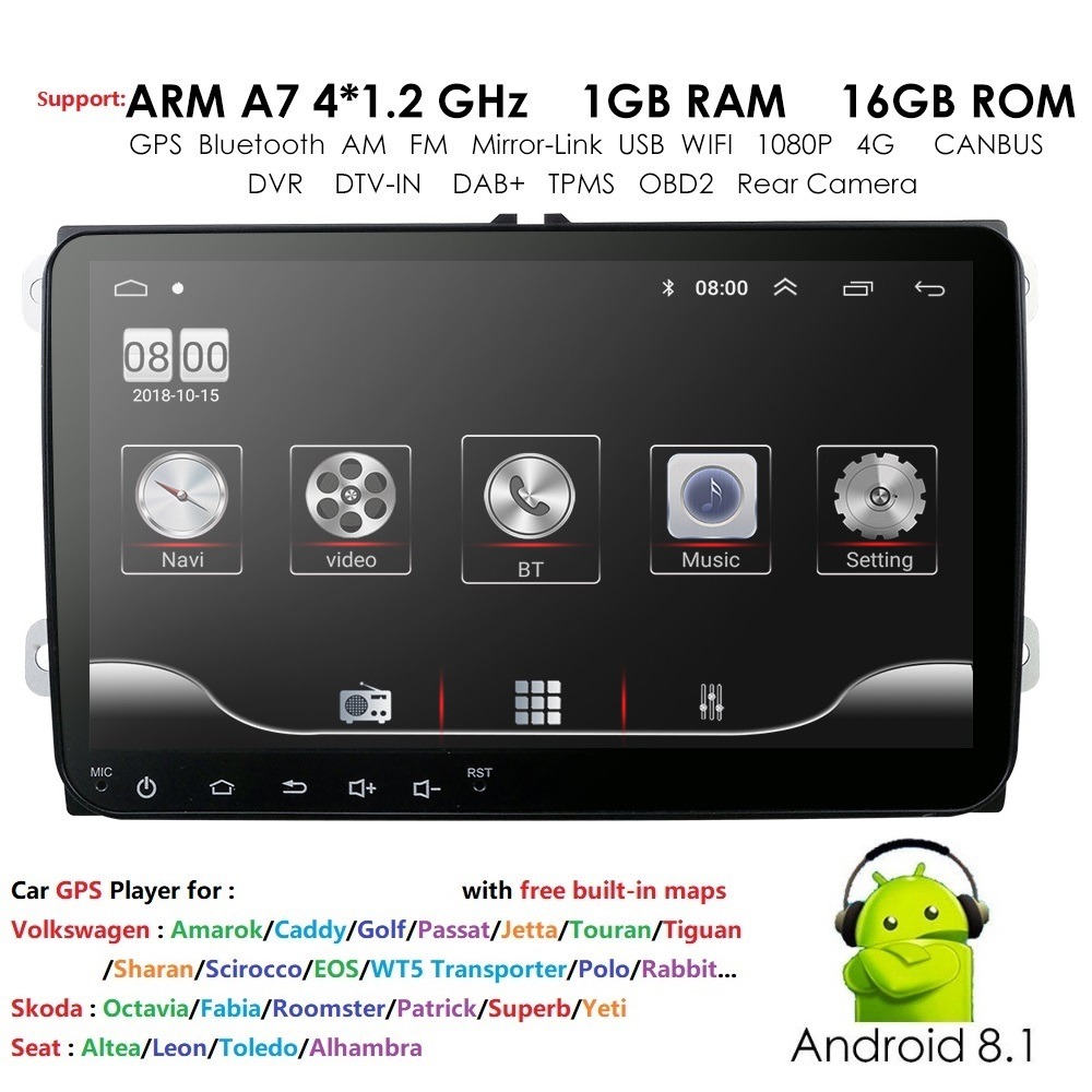 9 inch Car Android 8.1 Car radio GPS Auto radio 2 Din <font><b>USB</b></font> for <font><b>VW</b></font> Skoda Octavia <font><b>golf</b></font> 5 6 touran passat B6 jetta polo tiguan image