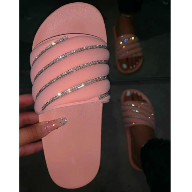 Summer Comfortable Sequins Flat Bottom Women Slippers Fashion Wild High Quality Outdoor Plus Size Slides Beach Women's Slippers