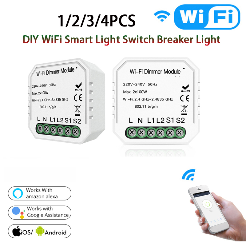 DIY WiFi Smart Light Switch Universal Breaker Timer Smart Life Tuya Wireless Remote Control Work With Alexa Google Home Amazon