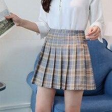 Клетчатая плиссированная сатиновая юбка, осенняя плиссированная мини-юбка с высокой талией, женская мода, тонкая талия, повседневные теннисные юбки, школьные каникулы