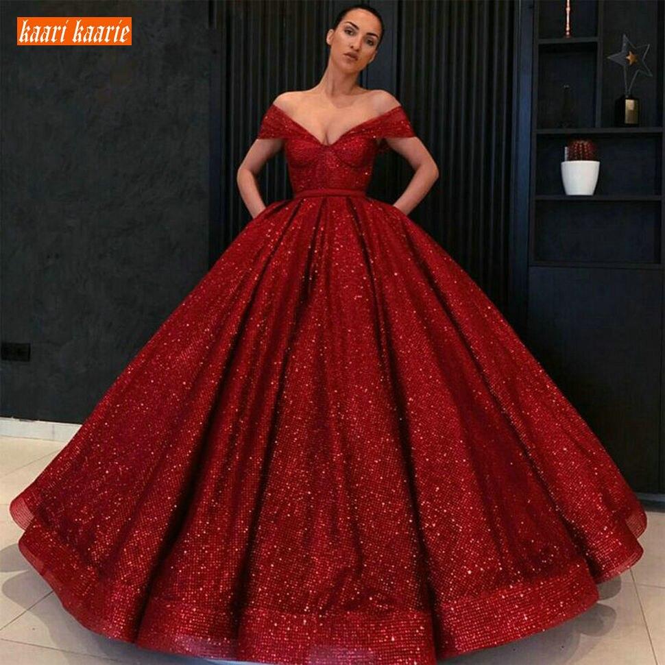 Gorgeous Africa Dark Red Long Wedding Dress V Neck Sequin Puffy Off Shoulder Illusion Bride Dresses Arabic Princess Wedding Gown