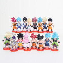 16 pçs/lote Q Dragon Ball Z Goku Buu Vegeta Freeza Trunks Goku Brolly Preto Figura Toys Dolls(China)