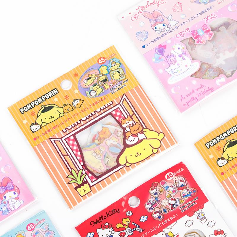 1pack Cute Cartoon My Melody Little Twin Stars Cinnamoroll Pudding Dog PVC Sticker Decor Index Stickers Classic Toy For Kid Gift