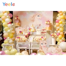 Yeele Colorful Balloons Flowers Unicorn Cake Baby Photography Backgrounds Customized Photographic Backdrops For Photo Studio yeele flowers vinyl photographic backgrounds baby shower photo newborn photography backdrops wedding photocall for photo studio
