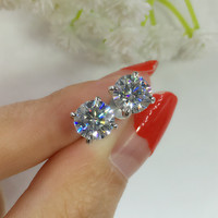 CxsJeremy 14K 585 White Gold Stud Earrings 2.0ct 6.5mm Round Brilliant Solitaire Moissanites Earrings For Women Jewelry Gift