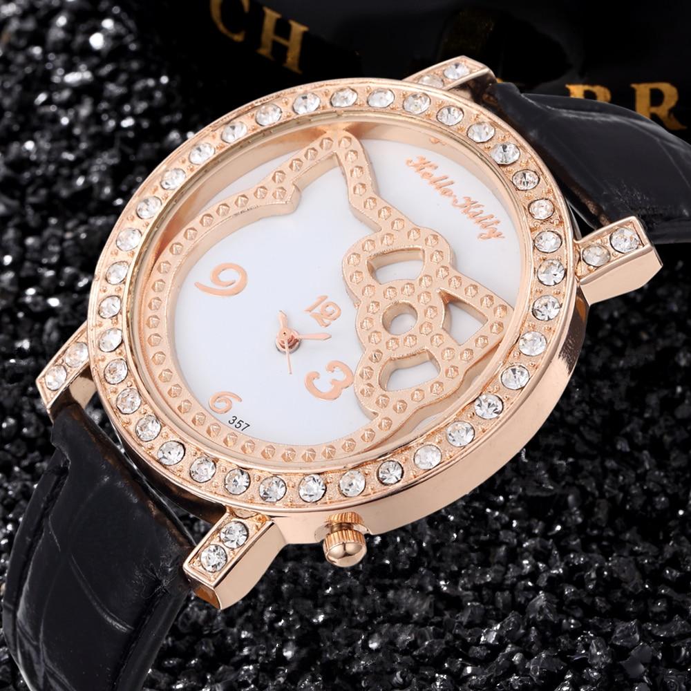 Hello Kitty Watch New Design Crystal Cute Quartz Watch Ceasuri Lady Fashion Leather Strap Hodinky Girl Gift Saats Reloj Mujer
