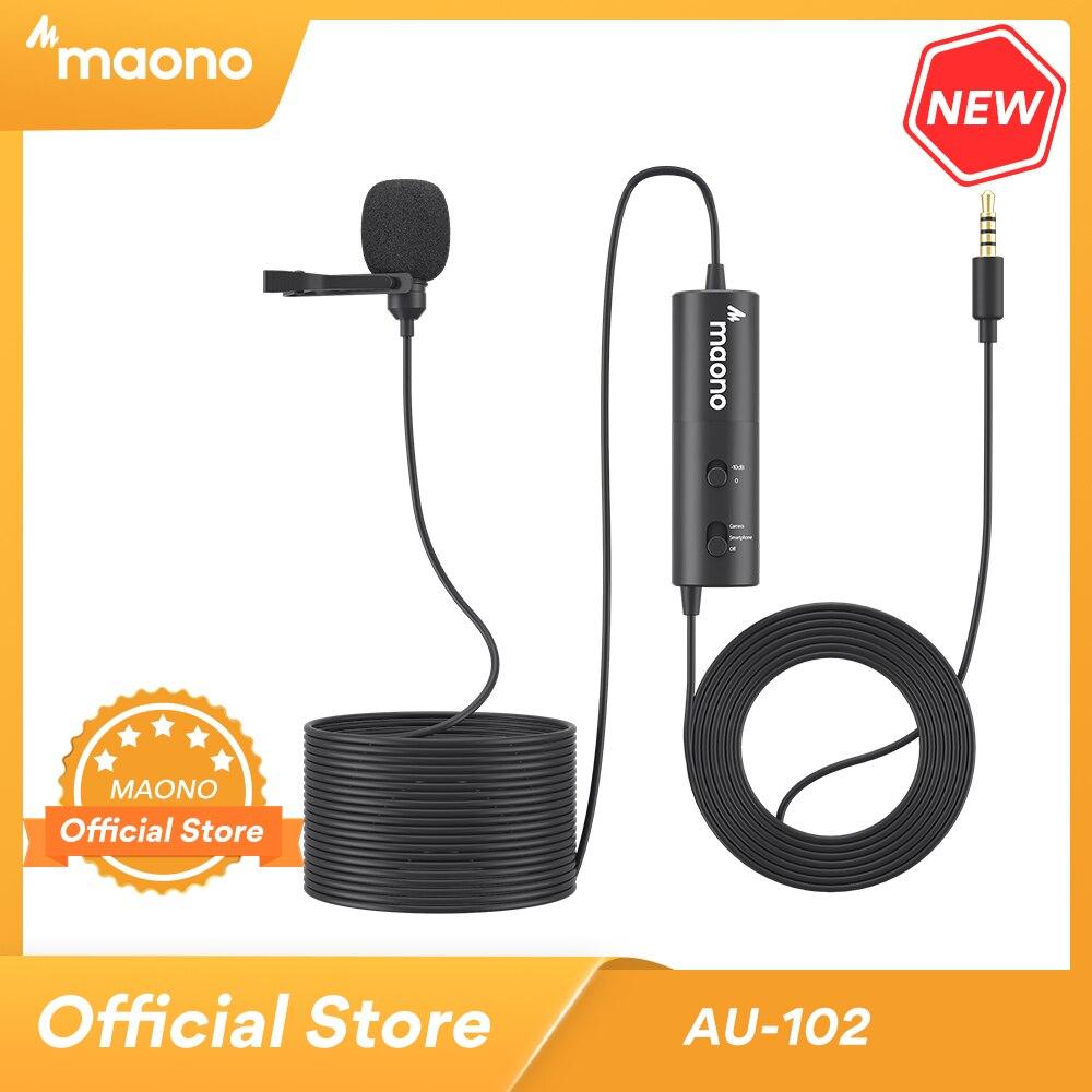 MAONO-micrófono Lavalier de AU-102 con Clip de 6M, condensador de cuello de 3,5mm, para grabación de teléfono, cámara DSLR con conector para auriculares