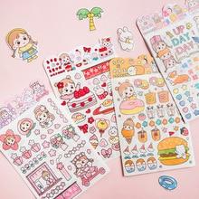 DIY Decorative-Stickers Strawberry Girls Sakura Bottle-Decor Diary 4-Sheets/Pack Phone