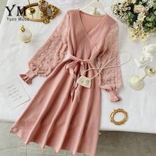 YuooMuoo 로맨틱 여성 니트 핑크 파티 드레스 2020 가을 겨울 V 목 우아한 시폰 긴 소매 새시 드레스 숙녀 복장