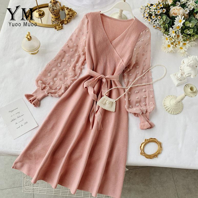 YuooMuoo Romantic Women Knitted Pink Party Dress 2020 Fall Winter V Neck Elegant Chiffon Long Sleeve Sashes Dress Ladies Dress