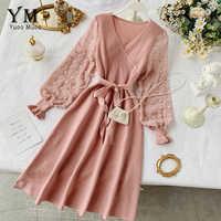 YuooMuoo Romantische Frauen Gestrickte Rosa Party Kleid 2019 Herbst Winter V-ausschnitt Elegante Chiffon Langarm Schärpen Kleid Damen Kleid