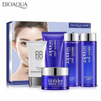 BIOAQUA Miracle Blueberry zestaw do pielęgnacji skóry nawilżający krem do twarzy z esencją i płyn do demakijażu i rozjaśniania krem bb i emulsja i Toner tanie i dobre opinie Kobiet Face 5pcs set Blueberry Essence 100g+120mL+120mL+50g+40g Blueberry Skin Care Set CHINA 2015115289 Whitening replenishment moisturizing brighten skin color