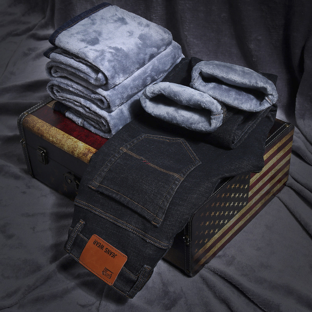2019 Men Fashion Winter Jeans Men Black Slim Fit Stretch Thick Velvet Pants Warm Jeans Casual Fleece Trousers Male Plus Size 2