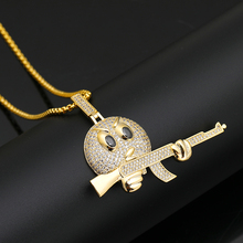 AK Web Celebrity Memes High-End Hip Hop Zircon Necklace With Premium Gift Box Mens Jewelry For