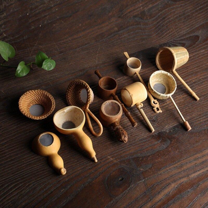 חדש יפן Teaism תה שולחן תה עיצוב דקורטיבי תה מסננות במבוק קש דלעת בצורת תה עלים משפך טקס אבזרים