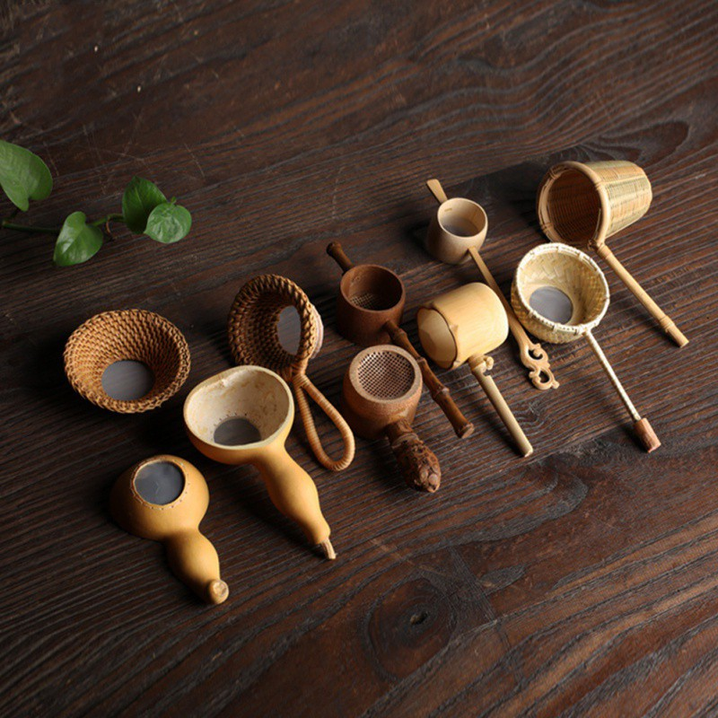 New Japan Teaism Tea Table Decor Tea Decorative Tea Strainers Bamboo Rattan Gourd Shaped Tea Leaves Funnel Ceremony Accessories