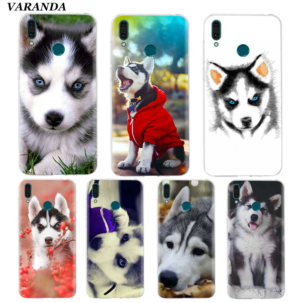 Animal Husky Puppy <font><b>Dog</b></font> <font><b>Case</b></font> for <font><b>Huawei</b></font> Y9 <font><b>Y7</b></font> Y6 Y5 Prime <font><b>2019</b></font> Honor 10i 20Lite 20S Silicone Coque Phone Shell Cover Fall image