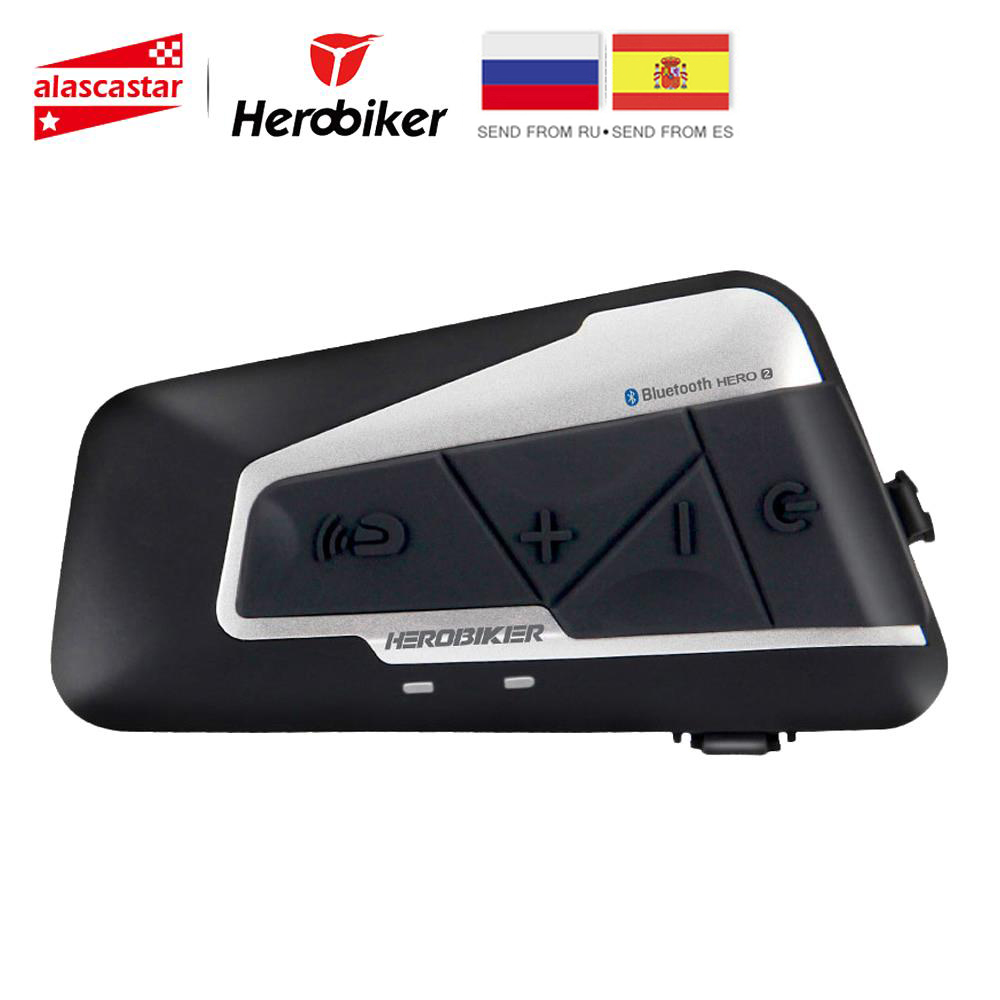 HEROBIKER Moto Interphone Moto casque étanche sans fil Bluetooth Interphone Moto casque avec Radio FM pour 2 manèges 1200M