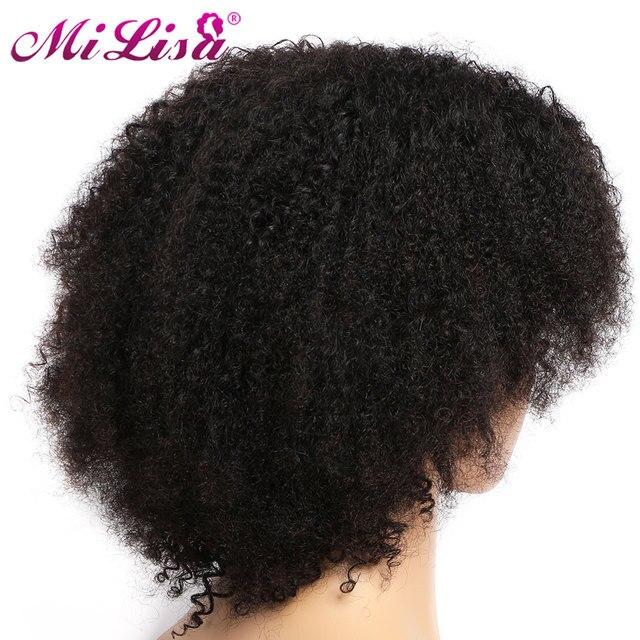 Pelucas rizadas de 10 pulgadas, Color natural Pre arrancado con pelo de bebé, pelucas de cabello humano peruano Remy Mi Lisa, pelucas Bob