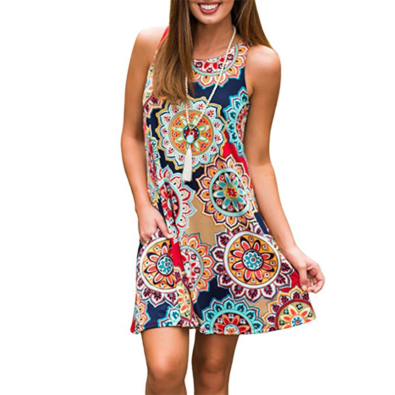 Women Summer Dress 2020 Fashion Print Mini Dress Sleeveless O Neck Female Casual Beach Dress Loose Waist Dresses Plus Size XXXL