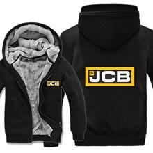 Excavator Jcb Hoodies Mens Zipper Coat Fleece Thicken JCB Sweatshirt Pullover