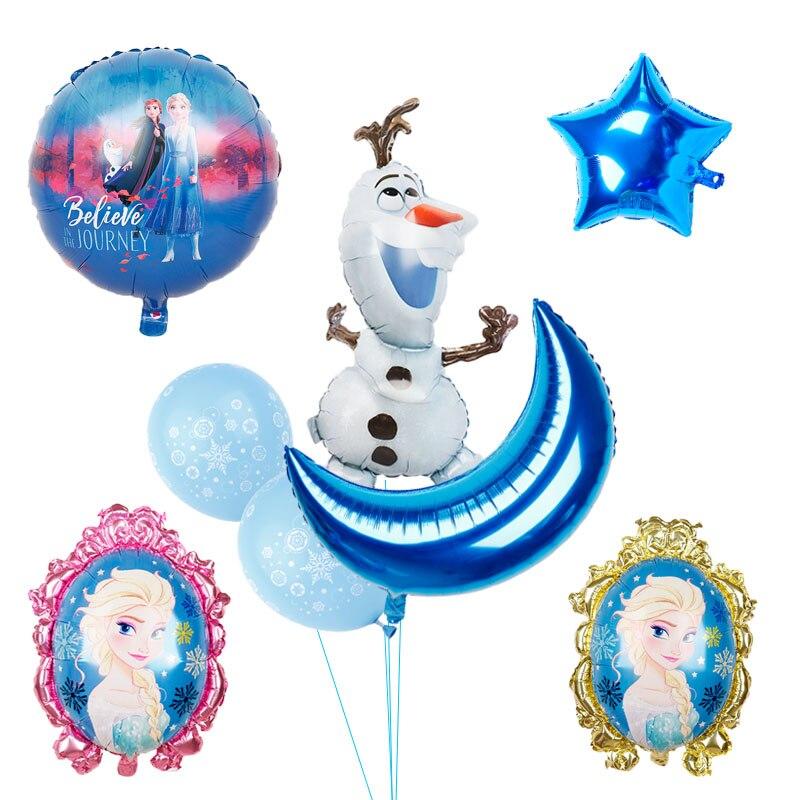 1 conjunto lua estrela folha balões princesa elsa boneco de neve olaf crianças aniversário festa de casamento casa decorações suprimentos chá de fraldas
