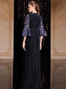 Image 2 - J9066 jancember o pescoço manga três quartos vestido de noite na turquia caixilhos lace vestido azul marinho noite платье вечернее длинное