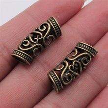 10 pçs oco trança de cabelo dreadlock para fazer jóias 10x10x25mm bronze antigo cor jóias acessórios